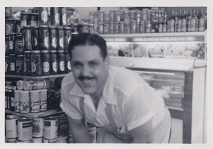 My dad inside his deli.