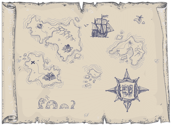 Ancient Map with Dragon yellow