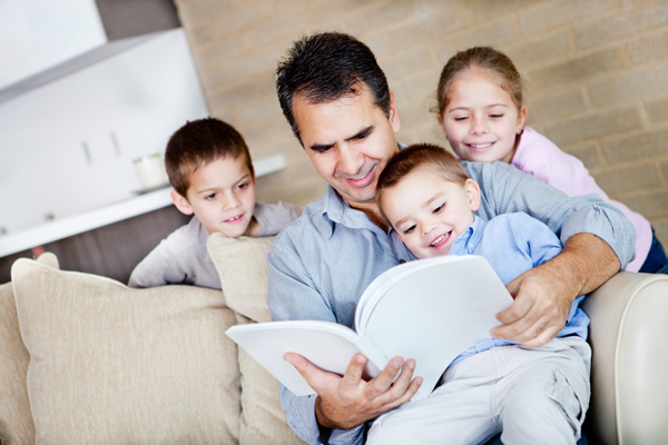 Father Reading to Children small