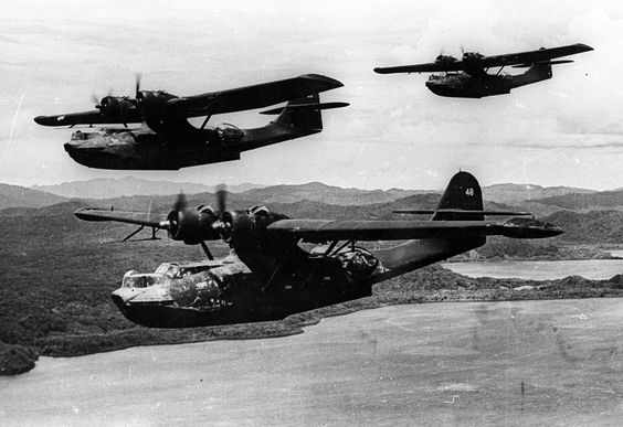 3 US Navy Catalina PBY-5A in flight in the southwest Pacific Dec 1943