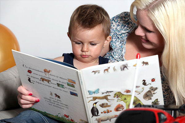Mother Reading with Toddler Son small