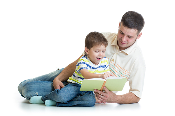 Dad reading with child small