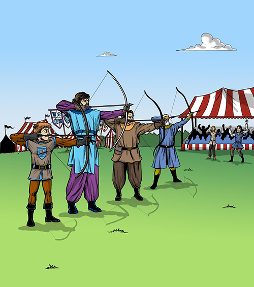Scene of Sir Kaye competing in the archery tournament from the award-winning children's chapter book The Knighting of Sir Kaye by Don M. Winn.