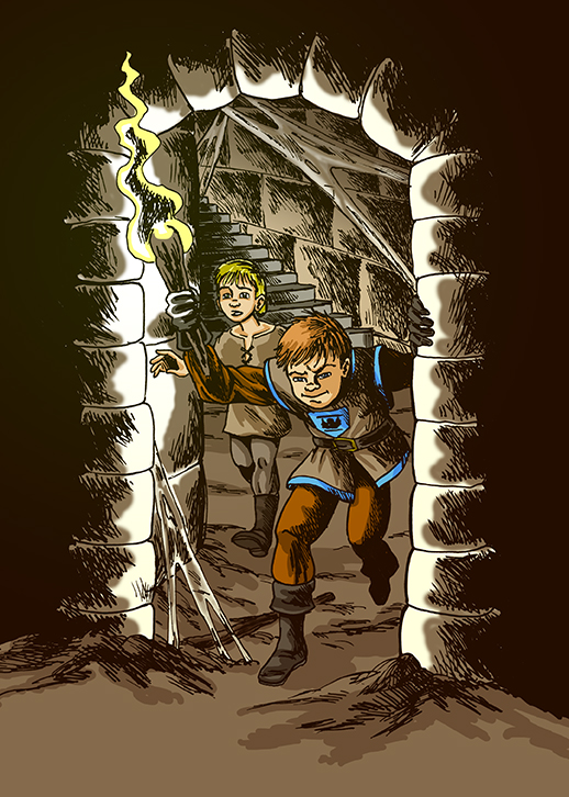 Scene of Kaye and Reggie discovering a secret passage in the castle from the award-winning children's chapter book The Lost Castle Treasure by Don M. Winn.