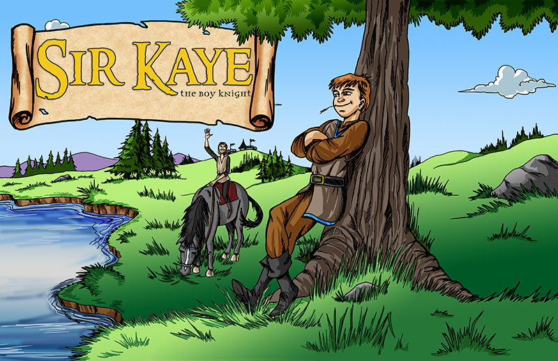 A scene from the award-winning children's chapter book The Knighting of Sir Kaye by Don M. Winn with Reggie riding Kaye's horse and waving while Kaye leans against a tree.