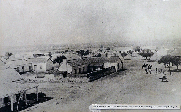 A black and white photograph of Fort McKavett in 1896, taken from the northwest window of the second story of the commanding officer's quarters.