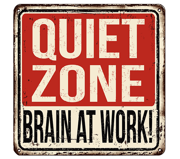 A sign that says Quiet Zone, Brain at Work. Don M. Winn offers helpful suggestions from David Rock's book Your Brain at Work for decreasing limbic response to perceived threat situations.
