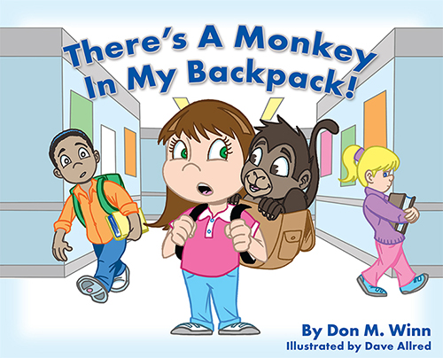 There's a Monkey in My Backpack! by Don M. Winn is the story of Anna, a dyslexic third-grade student, who has to deal with an unusual companion - a monkey who can make school very difficult, but who also provides her with many unsuspected advantages.